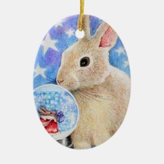 Conejo del día de fiesta con el ornamento de adorno ovalado de cerámica