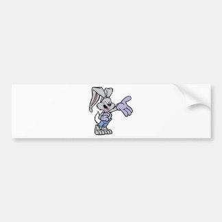 Conejo del dibujo animado etiqueta de parachoque