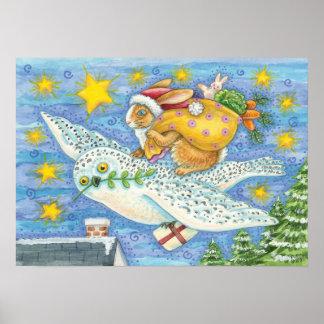 Conejo del dibujo animado como Papá Noel y búho co