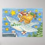 Conejo del dibujo animado como Papá Noel y búho Impresiones