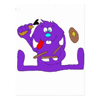Conejo del dibujo animado con las crepes postal