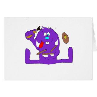 Conejo del dibujo animado con las crepes tarjeta de felicitación