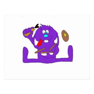 Conejo del dibujo animado con las crepes tarjeta postal
