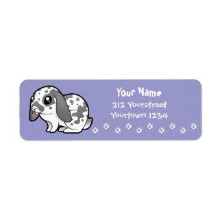 Conejo del dibujo animado (pelo liso del oído floj etiquetas de remite