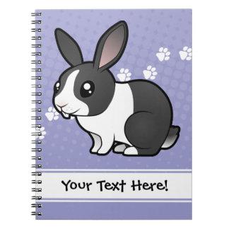 Conejo del dibujo animado (pelo liso del oído uppy spiral notebooks