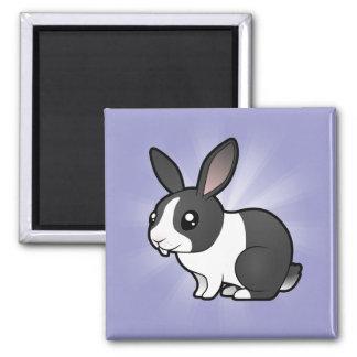 Conejo del dibujo animado (pelo liso del oído uppy imán cuadrado