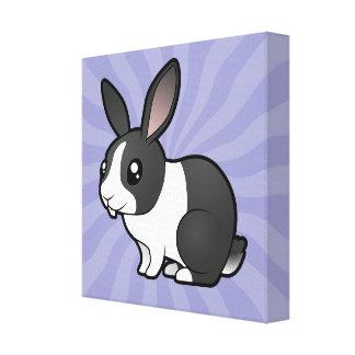 Conejo del dibujo animado (pelo liso del oído uppy lona envuelta para galerías