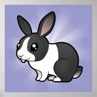 Conejo del dibujo animado (pelo liso del oído uppy póster