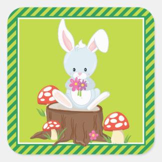Conejo del fiesta el | de los animales del pegatina cuadrada