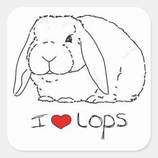 Conejo del Lop Calcomanias Cuadradas