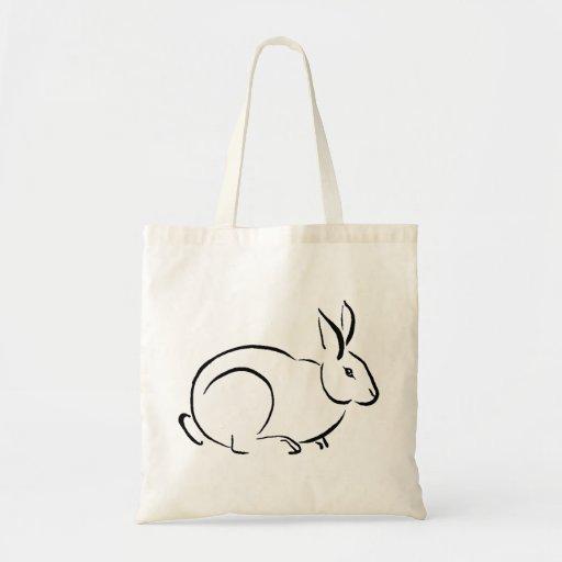 Conejo del movimiento del cepillo bolsa tela barata