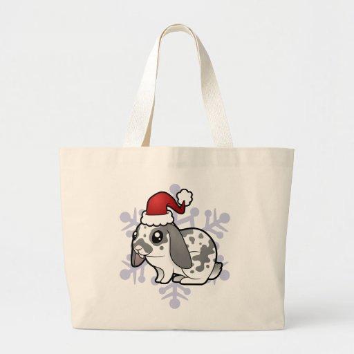 Conejo del navidad (pelo liso del oído flojo) bolsa tela grande