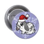 Conejo del navidad (pelo liso del oído flojo) pin redondo de 2 pulgadas