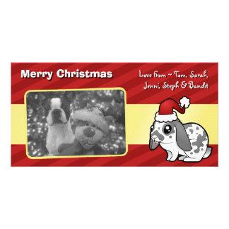 Conejo del navidad (pelo liso del oído flojo) tarjeta fotografica personalizada