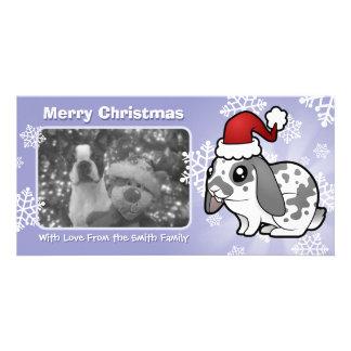 Conejo del navidad (pelo liso del oído flojo) tarjeta personal con foto