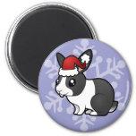 Conejo del navidad (pelo liso del oído uppy) imán de frigorífico