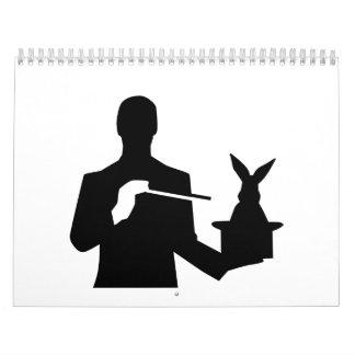 Conejo del sombrero de copa del mago calendarios de pared