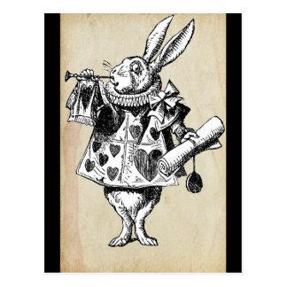 Conejo del vintage en corazones postal