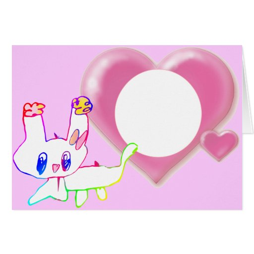 conejo el corazón del rosa dos del drenaje del niñ tarjeta de felicitación