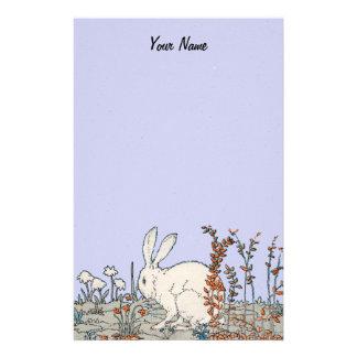 Conejo elegante del blanco del vintage papelería personalizada