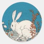 Conejo elegante del blanco del vintage pegatina redonda