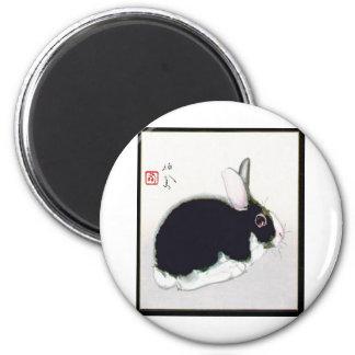 Conejo en blanco y negro iman de nevera