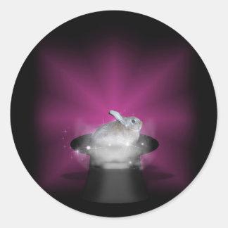 Conejo en el gorra mágico pegatina redonda