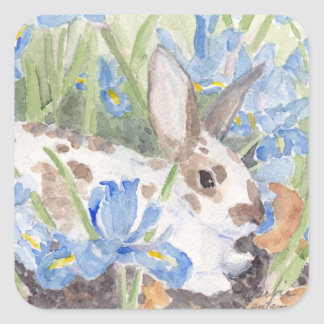 Conejo en iris holandeses pegatina cuadrada
