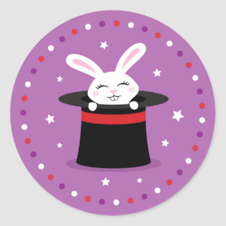 Conejo en la demostración mágica del gorra de los pegatinas redondas