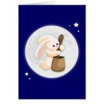 Conejo en la luna tarjetón