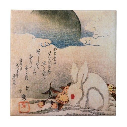 Conejo en la nieve - japonés - por Hokushū Azulejo Cuadrado Pequeño