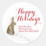 Conejo en las etiquetas del regalo de la dirección pegatina redonda
