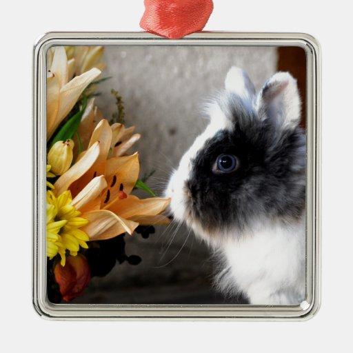 Conejo enano blanco y negro adorno navideño cuadrado de metal