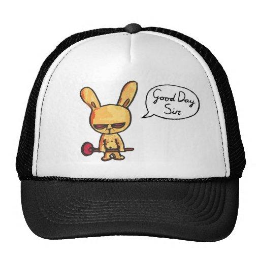 Conejo enojado educado gorras de camionero