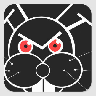 Conejo enojado pegatina cuadrada
