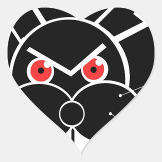 Conejo enojado pegatina en forma de corazón