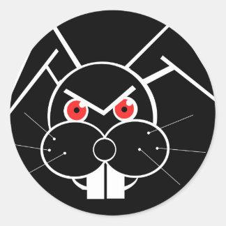 Conejo enojado pegatina redonda