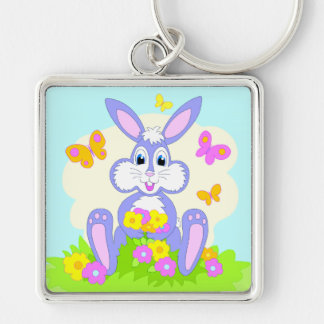 Conejo feliz del dibujo animado de las flores de llavero cuadrado plateado