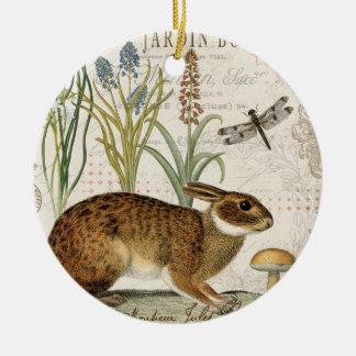conejo francés del vintage moderno en el jardín adorno redondo de cerámica