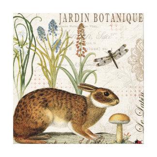 conejo francés del vintage moderno en el jardín impresión en lona estirada