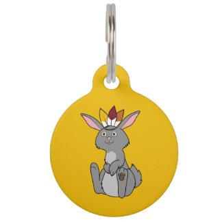 Conejo gris de la acción de gracias con el tocado placa para mascotas