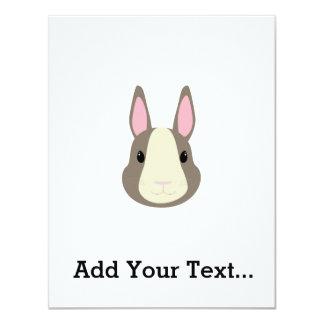 """Conejo gris invitación 4.25"""" x 5.5"""""""