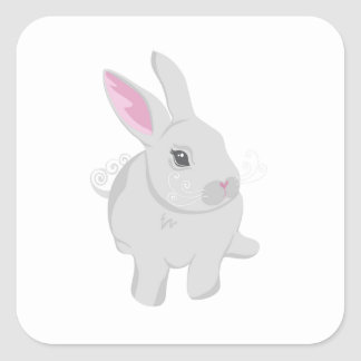 Conejo gris pegatinas cuadradases personalizadas