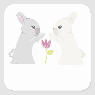 Conejo gris y blanco calcomanía cuadrada personalizada
