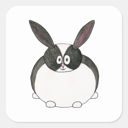 Conejo holandés blanco y negro pegatina cuadrada