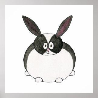 Conejo holandés blanco y negro póster