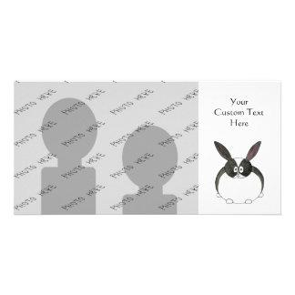 Conejo holandés blanco y negro tarjeta personal con foto