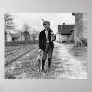 Conejo Hunting, 1908. Foto del vintage Póster