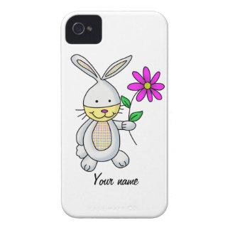 Conejo lindo con la flor iPhone 4 coberturas
