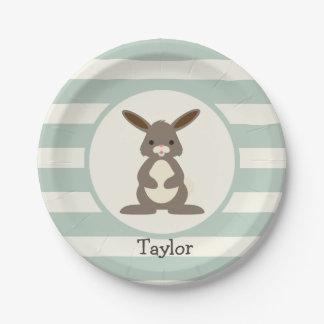 Conejo lindo, conejito en verde salvia ligera platos de papel